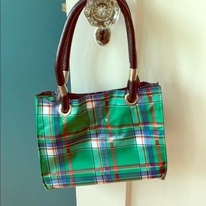 FLEEBAGS oilcloth sm tote purse green plaid